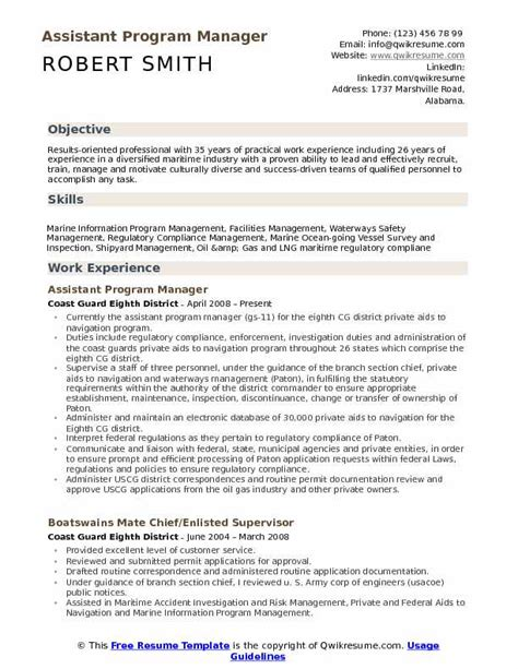 Program Manager Resume Sle by Assistant Program Manager Resume Sles Qwikresume