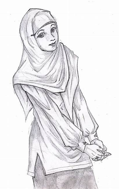 Hitam Putih Gambar Kartun Muslimah Hijab Karikatur