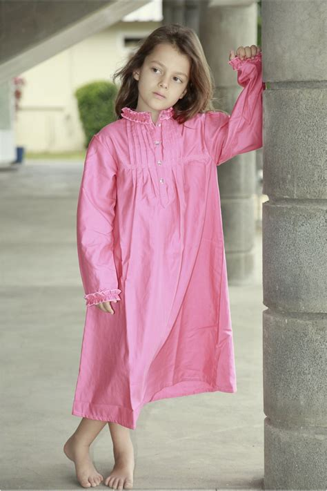 chemise de nuit fille bernadette fuchsia lorangerie