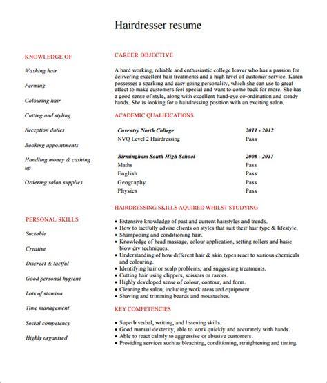 Hairdressers Resume by Hairdresser Resume Bestdressers 2019