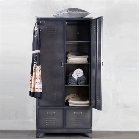 Armoire casier métal noir 1 penderie 3 étagères 2 tiroirs