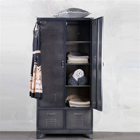 luminaire pour cuisine armoire casier métal noir 1 penderie 3 étagères 2 tiroirs locker decoclico