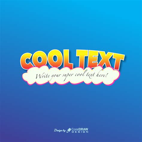 cool text effetcs cloudy logo tempate coreldraw
