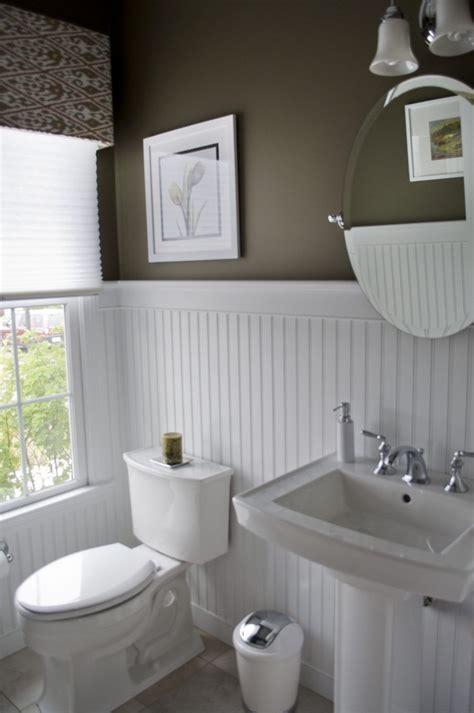 Black Beadboard Paneling by Bathroom High Contrast Powder Room Walls White
