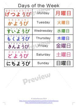 days   week calendar  japanese  italienfrancese tpt