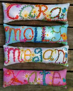 freehand embroidered bohemian letters name pillow custom made With cute boho pillows
