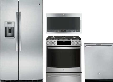 ge profile  piece appliance package  psekshss refrigerator pgsselss gas range