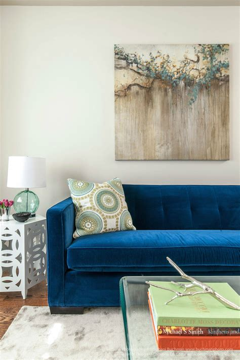 blue velvet sofa ideas  creating  royal living room