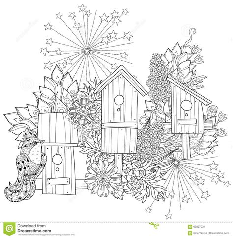 hand drawn doodle outline spring nesting box stock illustration image