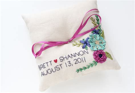 personalized ring bearer pillow onewed com