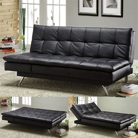Size Sleeper Sofa Bed by Modern Black Soft Leatherette Functional Size Chaise