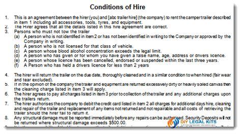 camper trailer hire  rental agreement template