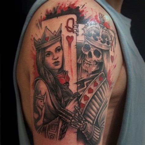 mens watercolor king  queen playing card upper arm