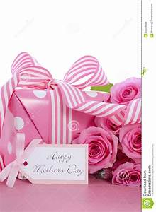 Happy Mothers Day Pink Polka Dot Gift. Stock Photo - Image ...