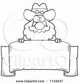 Miner Prospector Banner Clipart Chubby Parchment Cartoon Coloring Printable Outlined Vector Freaking Poster Thoman Cory Clipartof sketch template