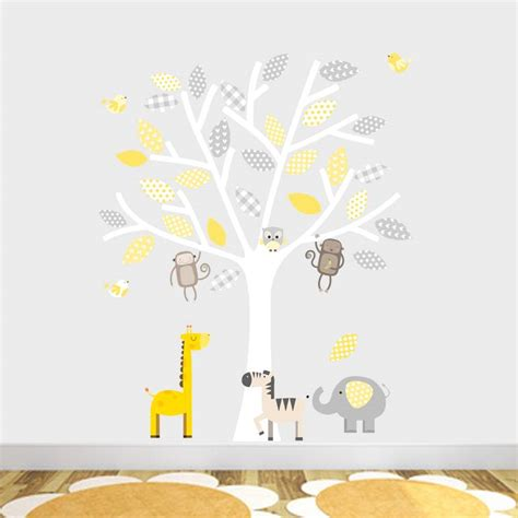 tree wall decor baby nursery grey and yellow safari fabric wall stickers by