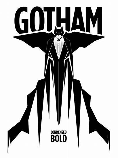 Gotham Batman Vector Poster Typography Bold Condensed