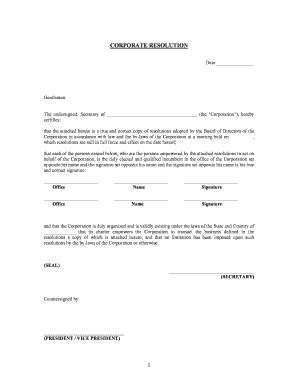 corporate resolution template form of resolution fill printable fillable blank pdffiller