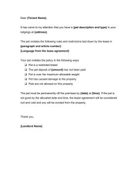 Landlords can use this warning letter to request that a