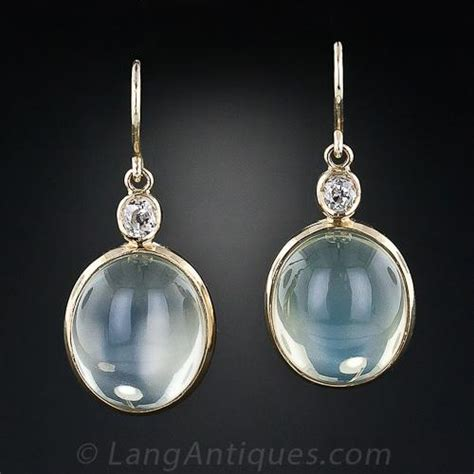 moonstone  diamond dangle earrings