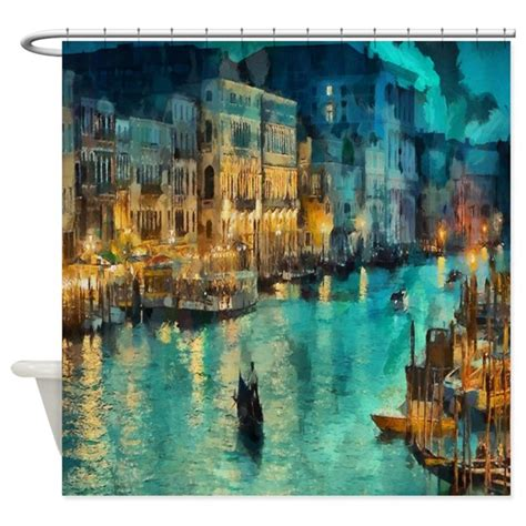 painting shower curtain venice painting shower curtain by coolbedding