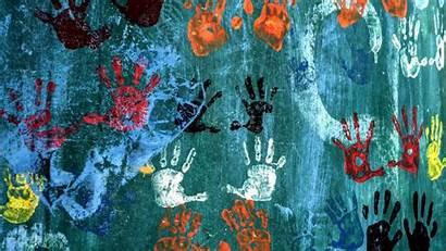 Wall Wallpapers Handprints Modern Backiee