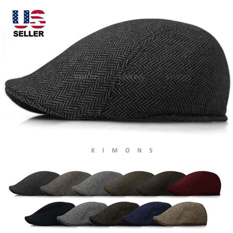 details about wool herringbone newsboy gatsby cap hat golf mens flat cabbie stripe