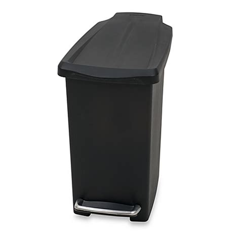 slim bathroom trash can with lid simplehuman 174 mini slim plastic 10 liter step on trash can