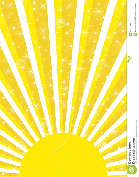 Bright Yellow Sun With Sunrays And Glowing Stars Stock ...