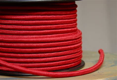 cloth covered l wire 6 feet red cloth covered 3 wire round cord vintage style