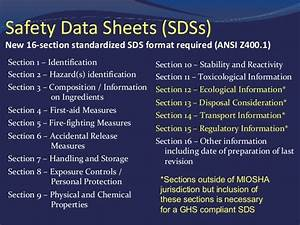 hazard communication training program by miosha With how many sections in sds