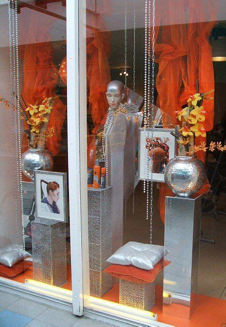 summer window display  hairstyling salon styled  rich