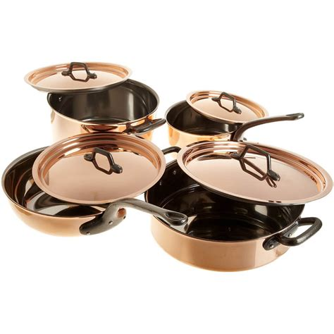 matfer bourgeat  piece premium copper cookware set stainless steel interior cast iron handles