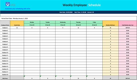 weekly schedule templates    word