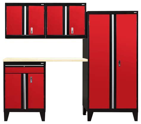 red and black garage cabinets 5 piece modular garage welded storage system black and