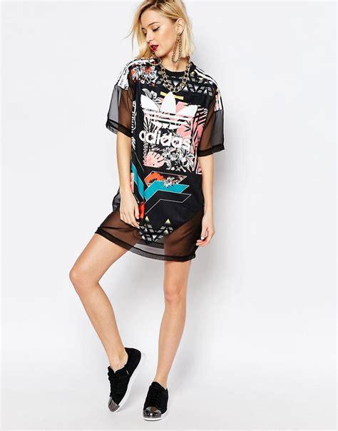 Adidas Originals T-Shirt Dress With Trefoil Logo u0026 Sheer Mixed Floral - ShopperBoard