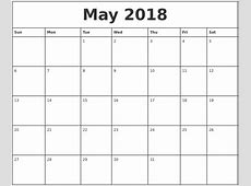 May 2018 Printable Calendar calendar monthly printable