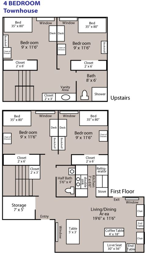 floor plans psu nittany apartments 4 bedroom townhouse penn state university park housing