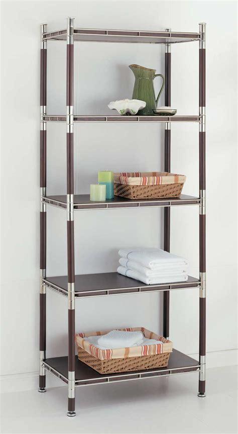 Bathroom Racks And Shelves by 5 Tier Wood And Chrome Shelving Unit In Bathroom Shelves