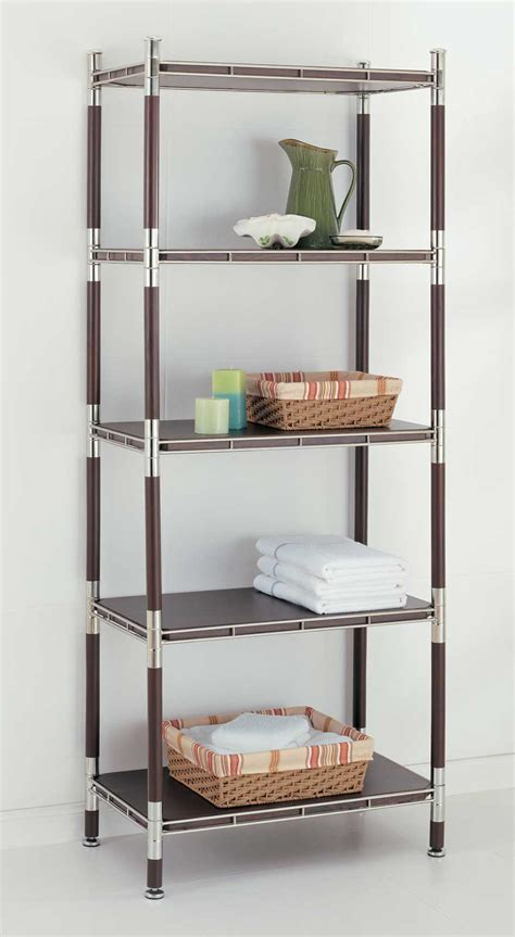 tier wood  chrome shelving unit  bathroom shelves