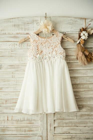 boho beach ivory lace chiffon wedding flower girl dress