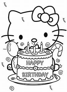 Happy Birthday Hello Kitty coloring page | Free Printable ...