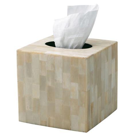 Square Tissue Box Cover   Bone   OKA
