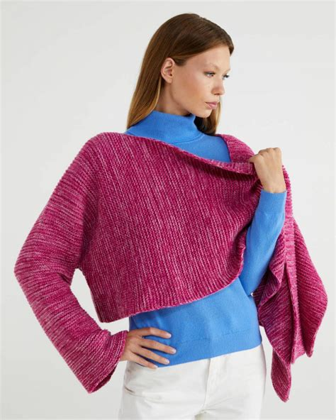 Acheter manteau cape femme avec prix adorable dans le magasin de manteau cape femme milanoo.com. Pulls et Gilets Femme | Cape courte Fuchsia | Benetton