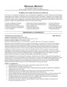 organizational change management resume exles cio chief information officer resume