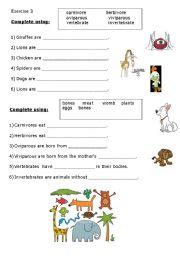 classify the animals esl worksheet by harmony51