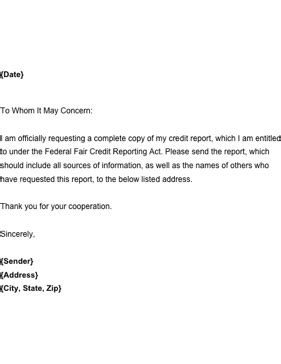 letter  request  copy   annual credit