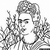 Frida Coloring Kahlo Portrait Self Paintings Famous Painting Thorn Necklace Colouring Thecolor Google Da Adult Outline Drawings Elf Portraits Sheets sketch template
