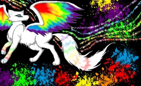 Anime Rainbow Wolf Wallpaper by Winged Wolves Images Rainbow Winged Wolf By Janne