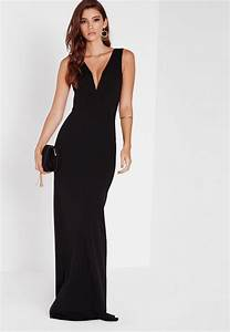 black v plunge maxi dress missguided With robe longue noire fendue